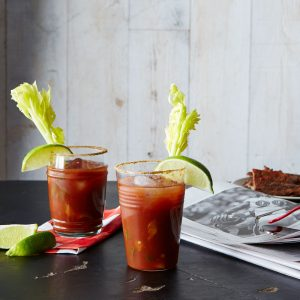 2 bloody mary drinks with garnish